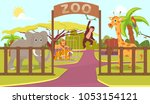animals behind fence and zoo... | Shutterstock .eps vector #1053154121