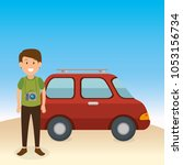 young man on the beach summer... | Shutterstock .eps vector #1053156734