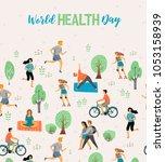 world health day. healthy... | Shutterstock .eps vector #1053158939