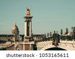 alexandre iii bridge and... | Shutterstock . vector #1053165611