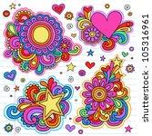 groovy psychedelic doodles hand ... | Shutterstock .eps vector #105316961
