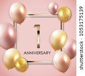 template 1 years anniversary... | Shutterstock .eps vector #1053175139