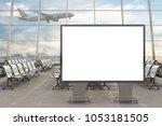 airport departure lounge. blank ... | Shutterstock . vector #1053181505