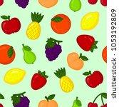 seamless pattern with cartoon... | Shutterstock .eps vector #1053192809