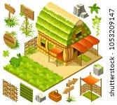 set 3d isometric straw cottage...