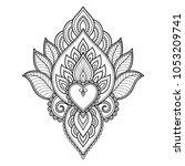 mehndi flower pattern for henna ... | Shutterstock .eps vector #1053209741