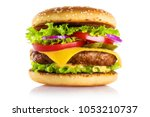 delicious burger  isolated on... | Shutterstock . vector #1053210737