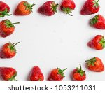 frame of strawberry  red colour ...   Shutterstock . vector #1053211031