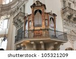 SALZBURG - APRIL 15: The organ that is in use was built in 1988, but the old organ is still essentially the same as the one built by Josef Christoph Egedacher in 1703. April 15, Salzburg, Austria. - stock photo