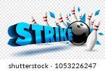 bowling strike blue color.... | Shutterstock .eps vector #1053226247