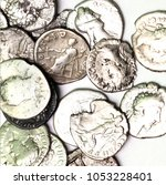 old roman coins on a white... | Shutterstock . vector #1053228401