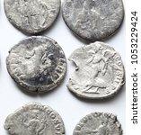 roman denarius on white... | Shutterstock . vector #1053229424