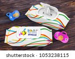 baby wet wipes package with... | Shutterstock . vector #1053238115