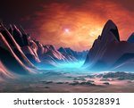 Fantasy Landscape With Mountains
