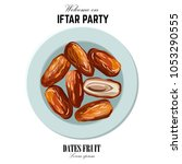 dates for iftar party. hand... | Shutterstock .eps vector #1053290555