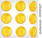 vector coin rotation dollar... | Shutterstock .eps vector #105329627