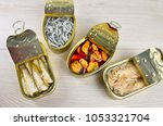 assortment of cans of canned...   Shutterstock . vector #1053321704