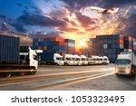 logistics and transportation... | Shutterstock . vector #1053323495