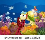 Illustration Of Sea Turtle...