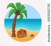 vacation at sea  brown suitcase ... | Shutterstock .eps vector #1053332735