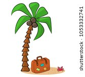 vacation at sea  a suitcase... | Shutterstock .eps vector #1053332741