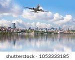 passenger plane flying over the ...   Shutterstock . vector #1053333185