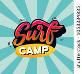 surf camp text for logotype ... | Shutterstock .eps vector #1053334835