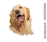 joyous labrador retriever... | Shutterstock .eps vector #1053335504
