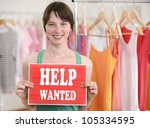 happy proud owner of store with ... | Shutterstock . vector #105334595