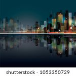 night city skyline with neon... | Shutterstock . vector #1053350729