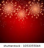 glossy fireworks background... | Shutterstock .eps vector #1053355064