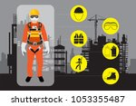 safety equipment  construction... | Shutterstock .eps vector #1053355487
