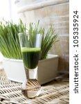 wheat grass juice in shot glass ... | Shutterstock . vector #105335924