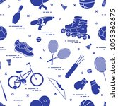 pattern with bicycle  rollers ... | Shutterstock .eps vector #1053362675
