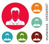 worker avatar icons circle set...