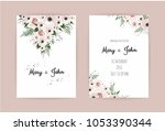 vector invitation with handmade ... | Shutterstock .eps vector #1053390344