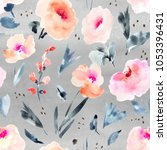 modern watercolor flowers... | Shutterstock . vector #1053396431