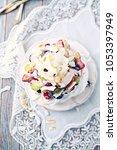 homemade pavlova with fresh...   Shutterstock . vector #1053397949