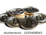 A bitcoin concept tokens isolated on a white background - stock photo