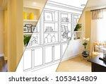 custom built in shelves and... | Shutterstock . vector #1053414809
