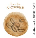 hand drawn coffee beans and...   Shutterstock .eps vector #1053415631
