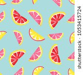 seamless tropical pattern of... | Shutterstock . vector #1053415724