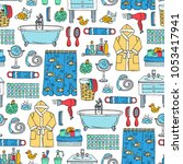 vector seamless pattern with... | Shutterstock .eps vector #1053417941