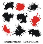 set with red and black ink... | Shutterstock .eps vector #105343025