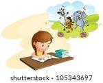 illustration of girl doing... | Shutterstock .eps vector #105343697