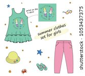 set of children's clothes for... | Shutterstock .eps vector #1053437375