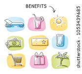 set with benefits and bonus... | Shutterstock .eps vector #1053439685