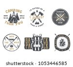 vintage hand drawn travel badge ... | Shutterstock . vector #1053446585