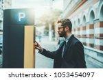 bearded serious man... | Shutterstock . vector #1053454097