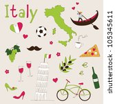 italy   landmarks and symbols | Shutterstock .eps vector #105345611